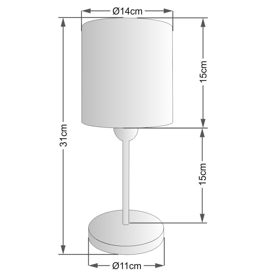 Abajur de Mesa Md-2010 Base Branco Cúpula em Tecido Cilindrica 14x15cm Cinza - Bivolt