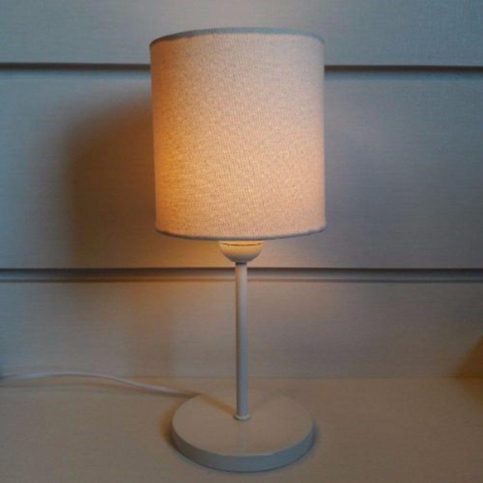 Abajur de Mesa Md-2010 Base Branco Cúpula em Tecido Cilindrica 14x15cm Algodão Crú - Bivolt