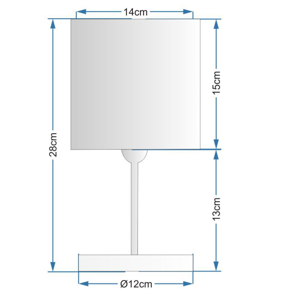 Abajur Quadrado de Mesa Md-2008 Base Branco Cúpula em Tecido 15/13x13cm Café - Bivolt