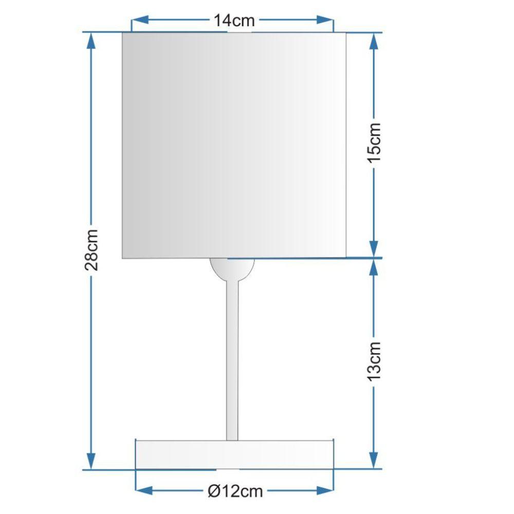 Abajur Quadrado de Mesa Md-2008 Base Branco Cúpula em Tecido 15/13x13cm Preto - Bivolt