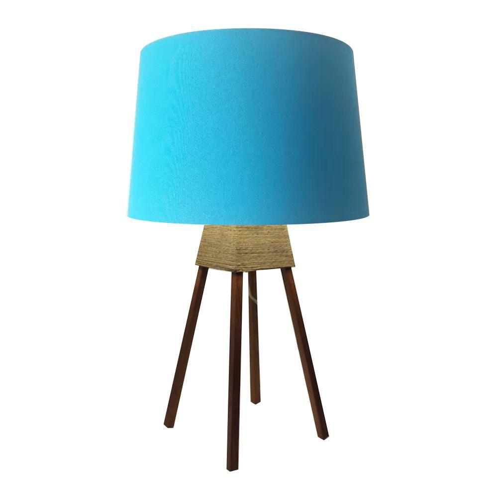 Abajur Quadripe Madeira Md-2017 Cúpula em Tecido 20/27x30cm Azul Turquesa - Bivolt