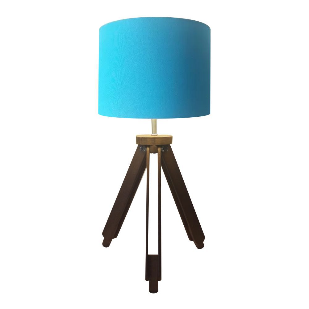 Abajur Tripe Madeira Md-2021 Cúpula em Tecido 30x25cm Azul Turquesa - Bivolt
