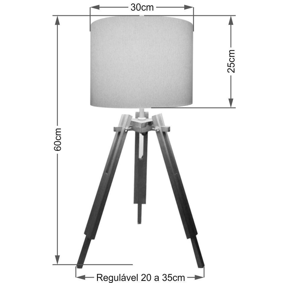 Abajur Tripe Madeira Md-2024 Cúpula em Tecido 30x25cm Branco - Bivolt