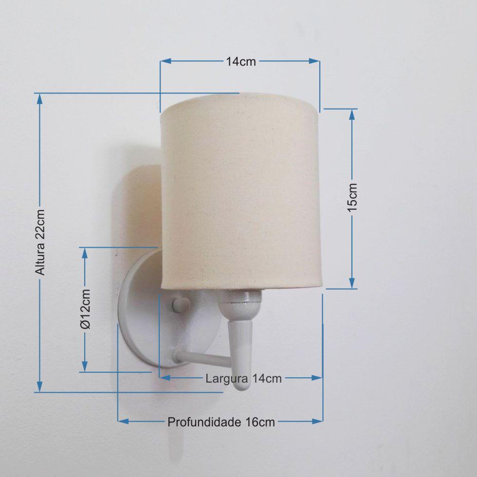 Arandela Cilindrica Md-2009 Base Branco Cúpula em Tecido 14x15cm Algodão Crú - Bivolt