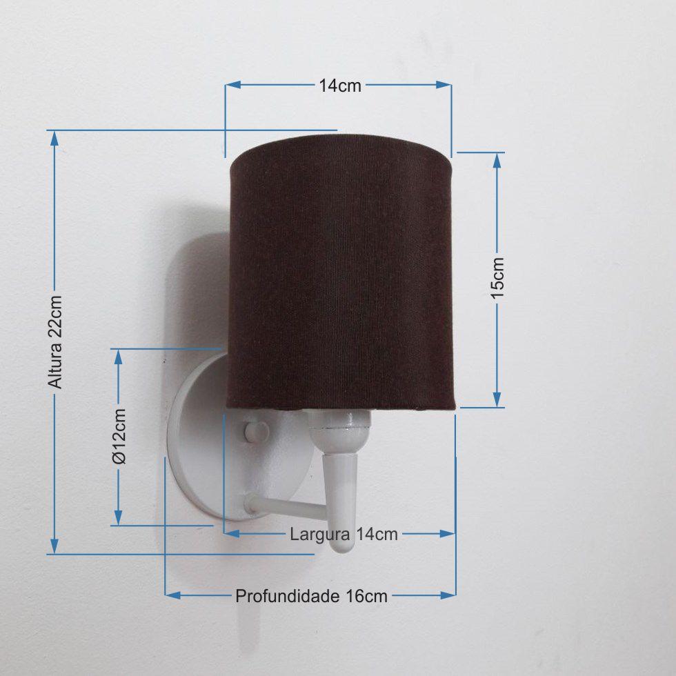 Arandela Cilindrica Md-2009 Base Branco Cúpula em Tecido 14x15cm Café - Bivolt
