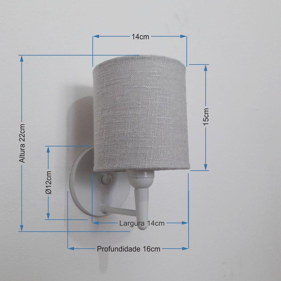 Arandela Cilindrica Md-2009 Base Branco Cúpula em Tecido 14x15cm Cinza - Bivolt