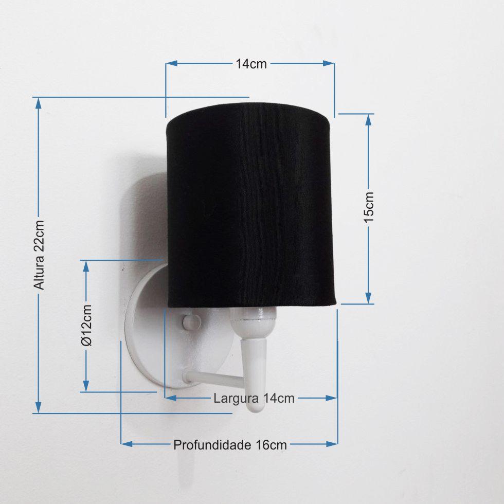 Arandela Cilindrica Md-2009 Base Branco Cúpula em Tecido 14x15cm Preto - Bivolt