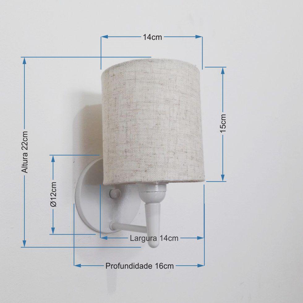 Arandela Cilindrica Md-2009 Base Branco Cúpula em Tecido 14x15cm Rustico Bege - Bivolt