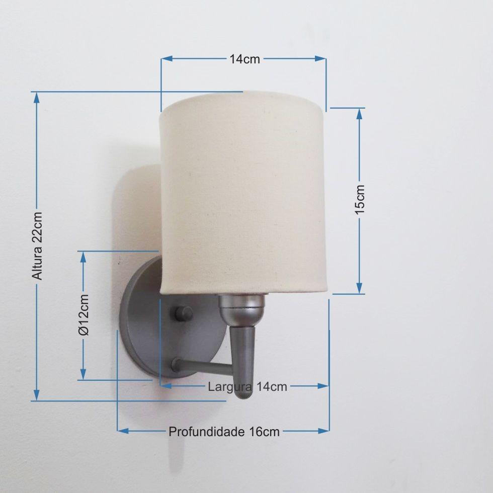Arandela Cilindrica Md-2009 Base Cinza Cúpula em Tecido 14x15cm Algodão Crú - Bivolt