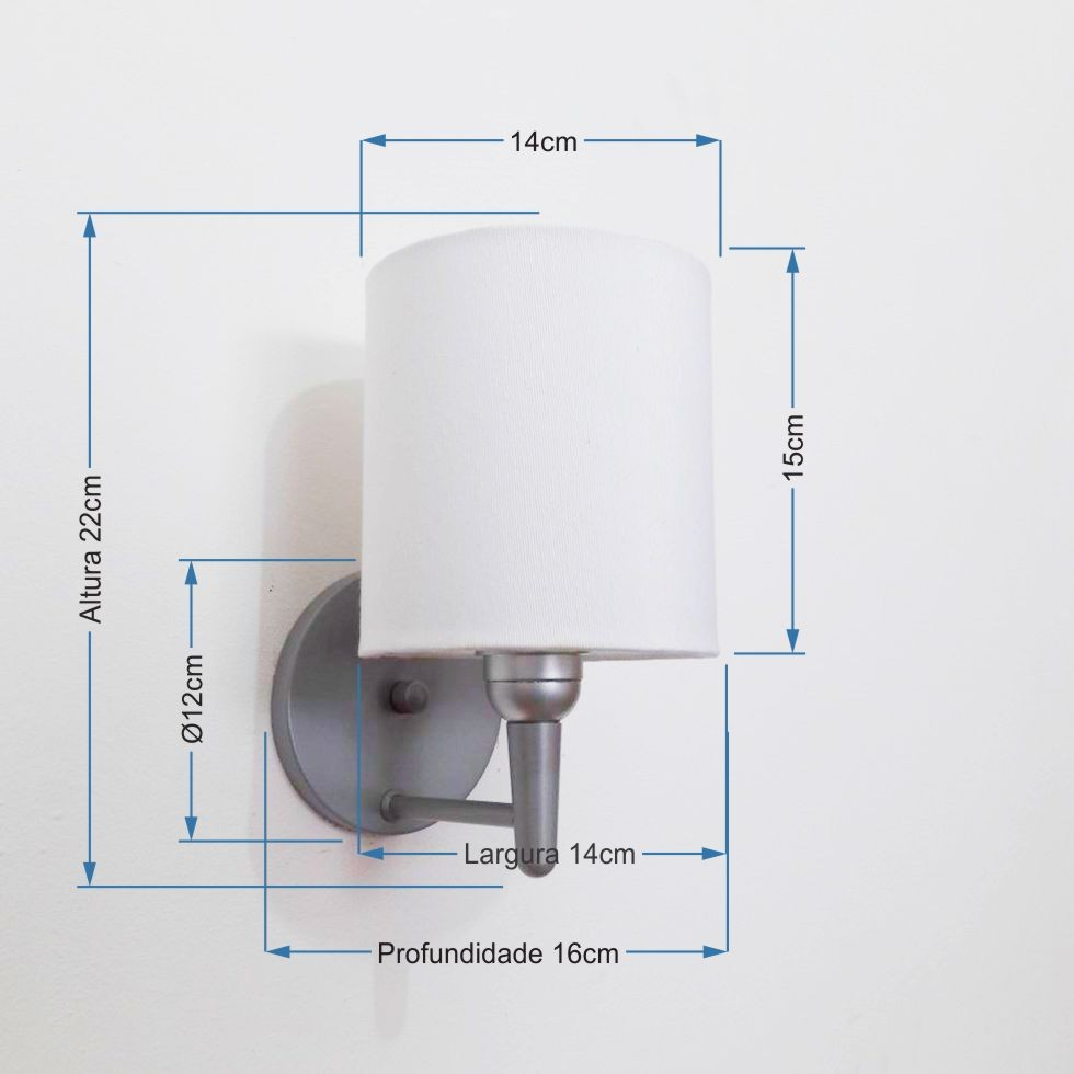 Arandela Cilindrica Md-2009 Base Cinza Cúpula em Tecido 14x15cm Branco - Bivolt