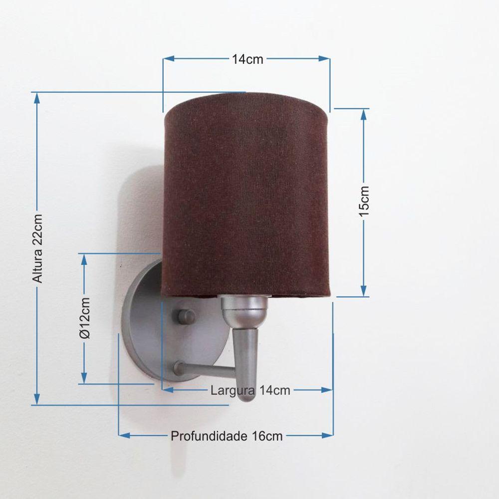 Arandela Cilindrica Md-2009 Base Cinza Cúpula em Tecido 14x15cm Café - Bivolt
