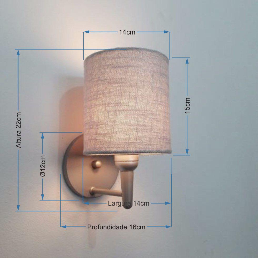Arandela Cilindrica Md-2009 Base Cinza Cúpula em Tecido 14x15cm Cinza - Bivolt