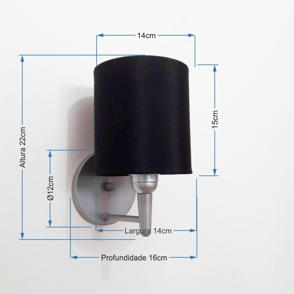 Arandela Cilindrica Md-2009 Base Cinza Cúpula em Tecido 14x15cm Preto - Bivolt
