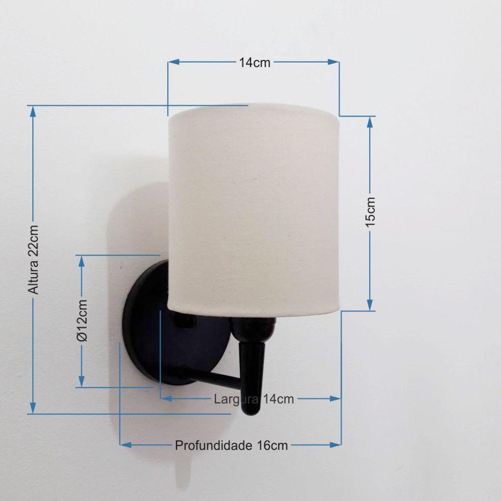 Arandela Cilindrica Md-2009 Base Preto Cúpula em Tecido 14x15cm Algodão Crú - Bivolt