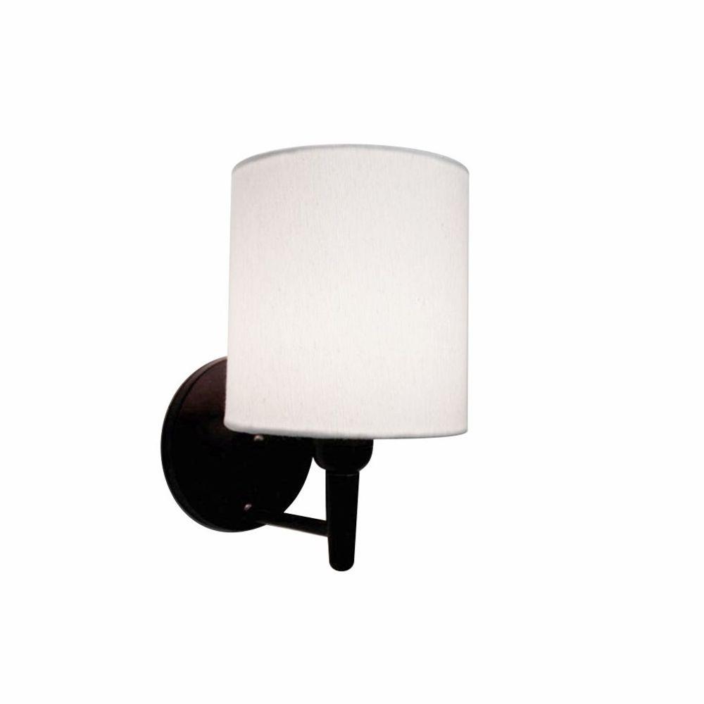 Arandela Cilindrica Md-2009 Base Preto Cúpula em Tecido 14x15cm Branco - Bivolt