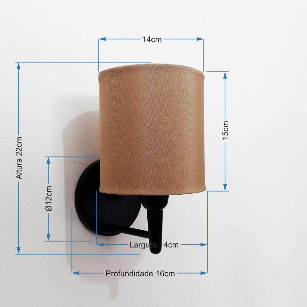 Arandela Cilindrica Md-2009 Base Preto Cúpula em Tecido 14x15cm Palha - Bivolt