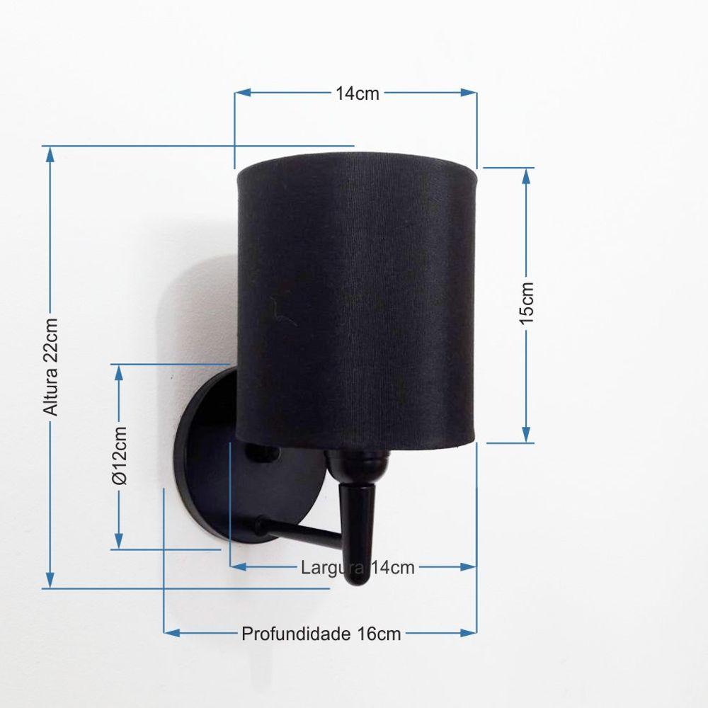 Arandela Cilindrica Md-2009 Base Preto Cúpula em Tecido 14x15cm Preto - Bivolt
