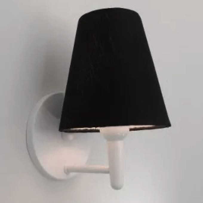Arandela Cone Md-2004 Base Branco Cúpula em Tecido 14/14x07cm Preto - Bivolt