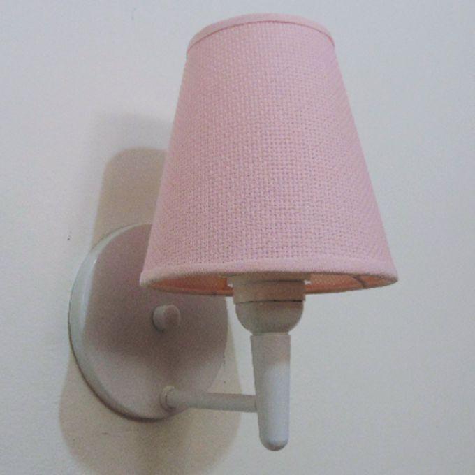 Arandela Cone Md-2004 Base Branco Cúpula em Tecido 14/14x07cm Rosa Bebê -Tela - Bivolt