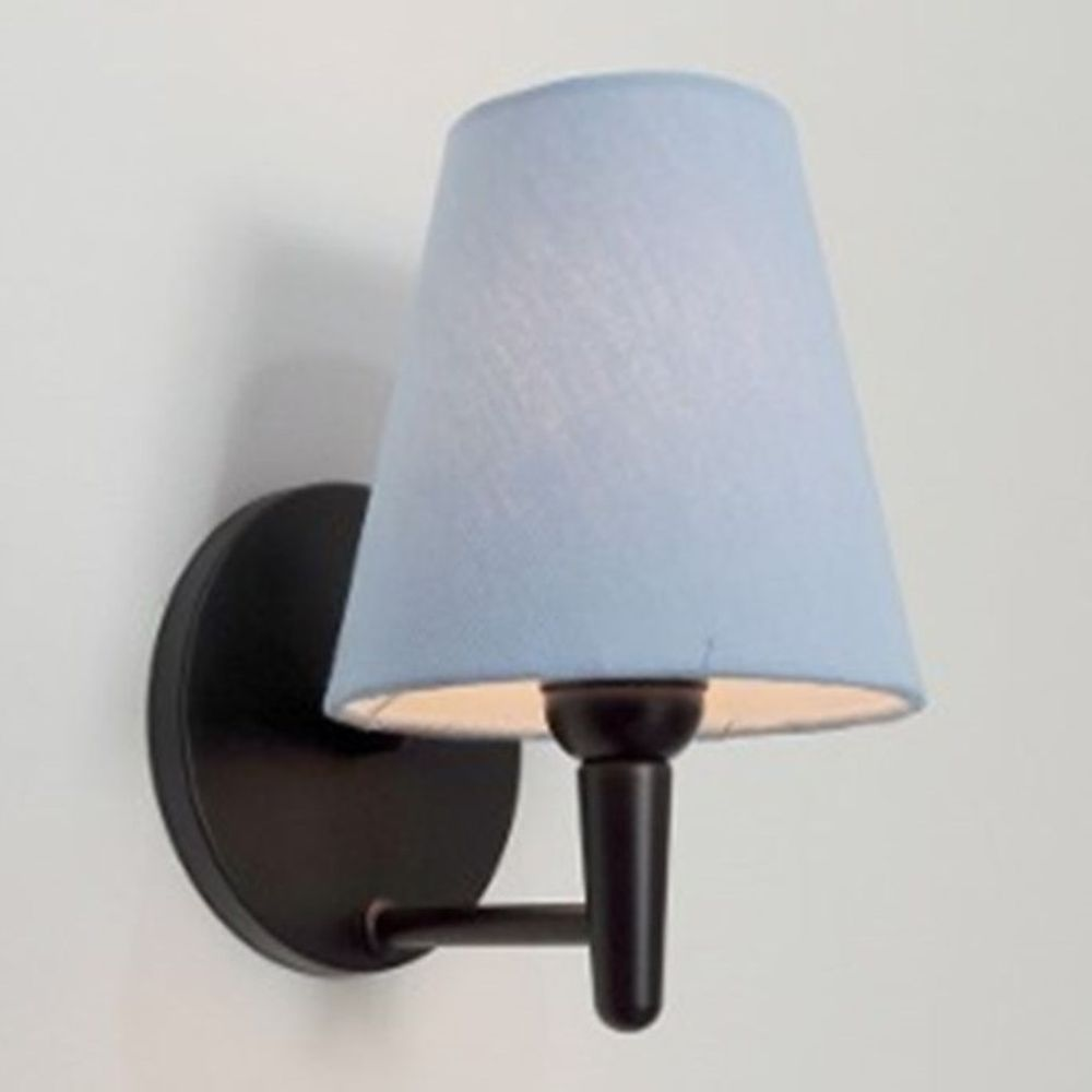 Arandela Cone Md-2004 Base Preto Cúpula em Tecido 14/14x07cm Azul Bebê - Bivolt