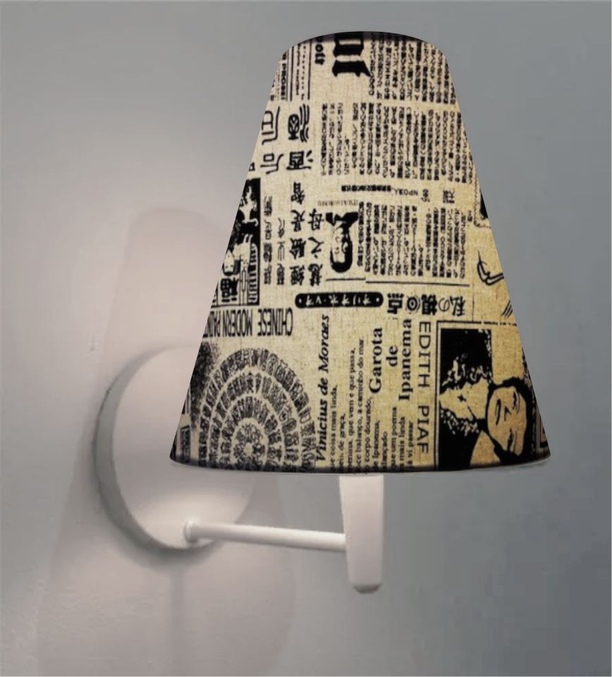 Arandela Cone Md-2007 Base Branco Cúpula em Tecido 20/08x18cm Ny-Jornal - Bivolt