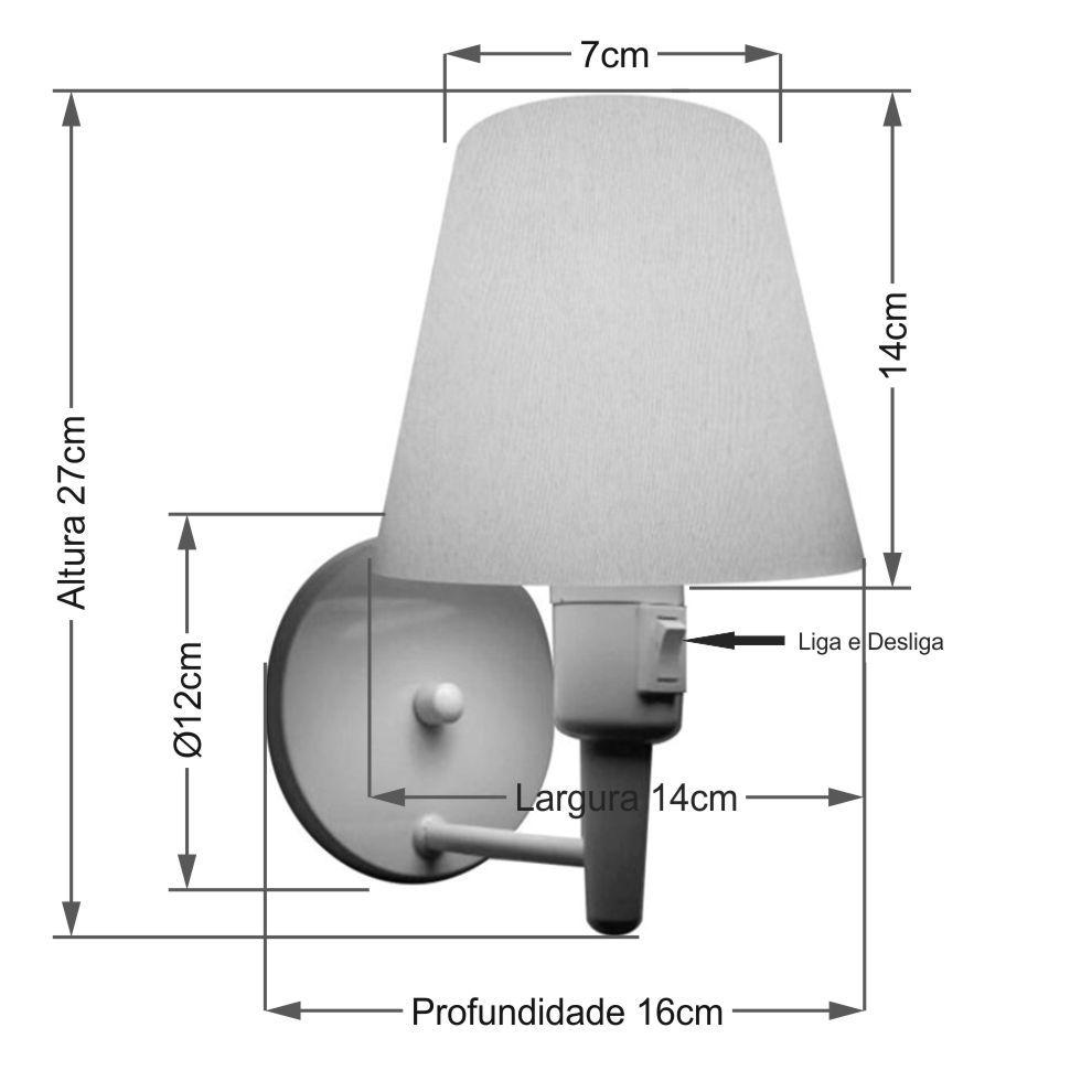 Arandela Cone Vivare Md-2013 Base Alumínio Branco Com Interruptor Cúpula em Tecido - Bivolt
