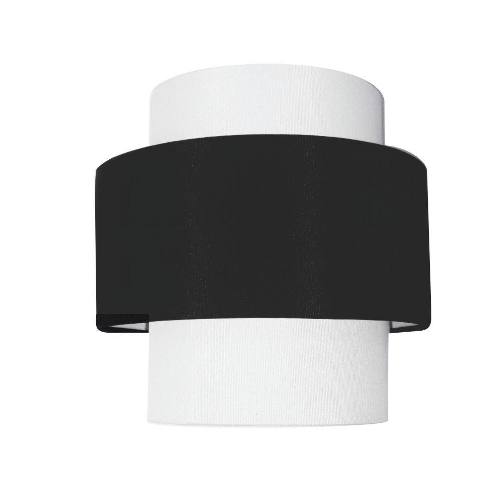 Arandela Meia Cana Dupla Md-2020 Cúpula em Tecido 25/24x12cm Branco - Preto - Bivolt