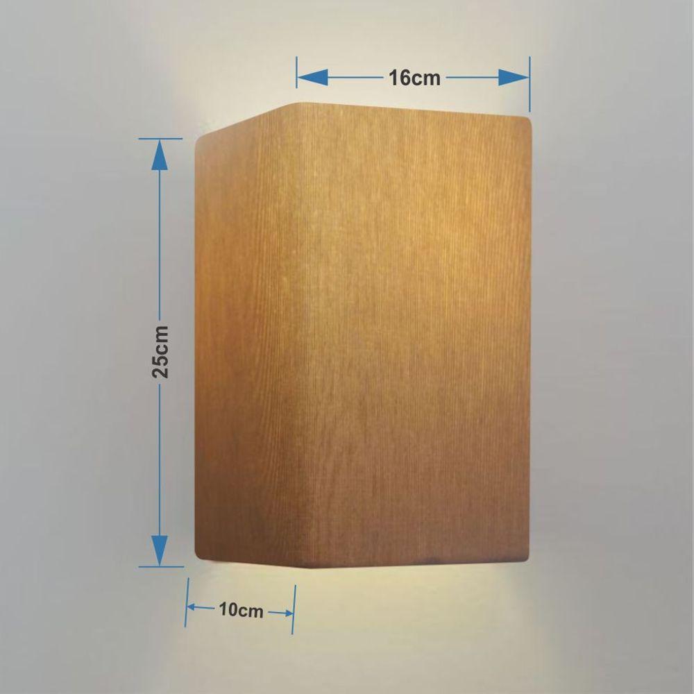 Arandela Retangular Retro Md-2002 Cúpula em Tecido 25/16x10cm Palha - Bivolt