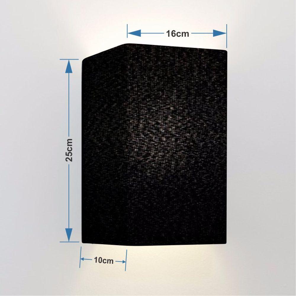 Arandela Retangular Retro Md-2002 Cúpula em Tecido 25/16x10cm Preto - Bivolt