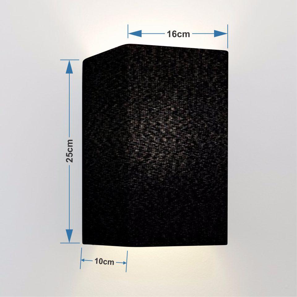 Arandela Retangular Retro Md-2002 Cúpula Tecido 25/16x10cm Preto