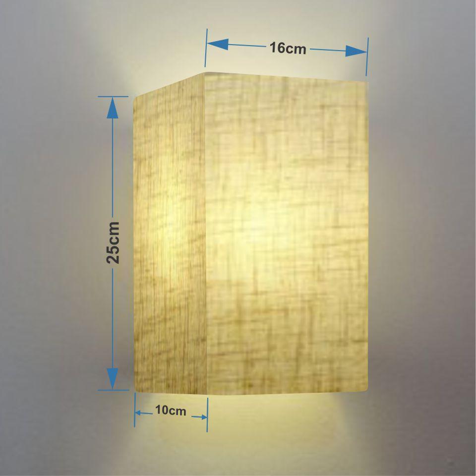 Arandela Retangular Retro Md-2002 Cúpula em Tecido 25/16x10cm Rustico Bege - Bivolt