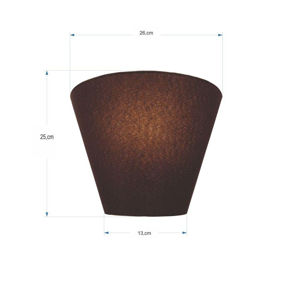 Arandela Retro Cone Md-2001 Cúpula em Tecido 25/26x13cm Café - Bivolt