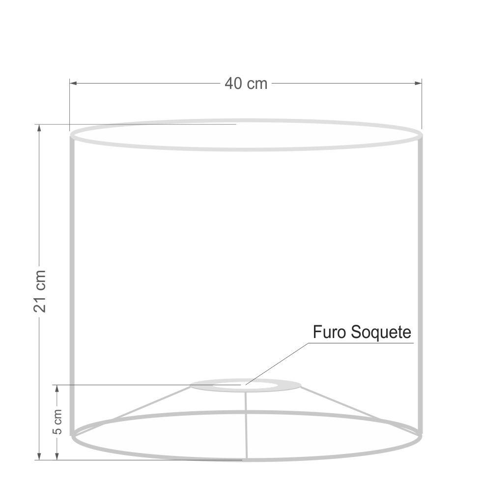 Cúpula Abajur e Luminária em Tecido Cilíndrica Vivare Cp-7017 Ø40x21cm - Bocal Nacional