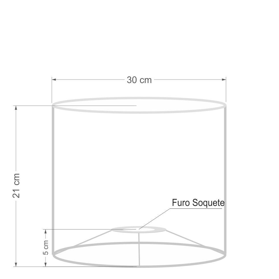 Cúpula Abajur e Luminaria em Tecido Cilíndrica Vivare Cp-8011 Ø30x21cm - Bocal Europeu