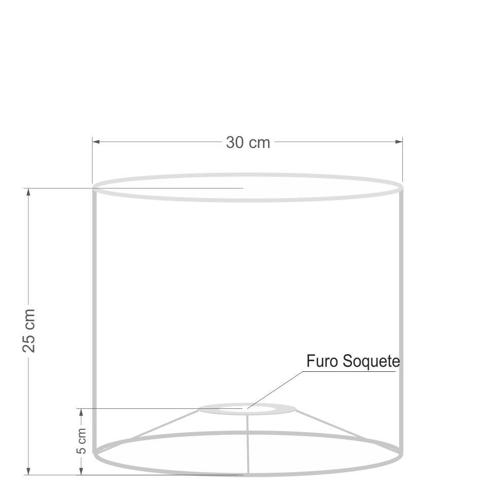 Cúpula Abajur e Luminaria em Tecido Cilíndrica Vivare Cp-8012 Ø30x25cm - Bocal Europeu