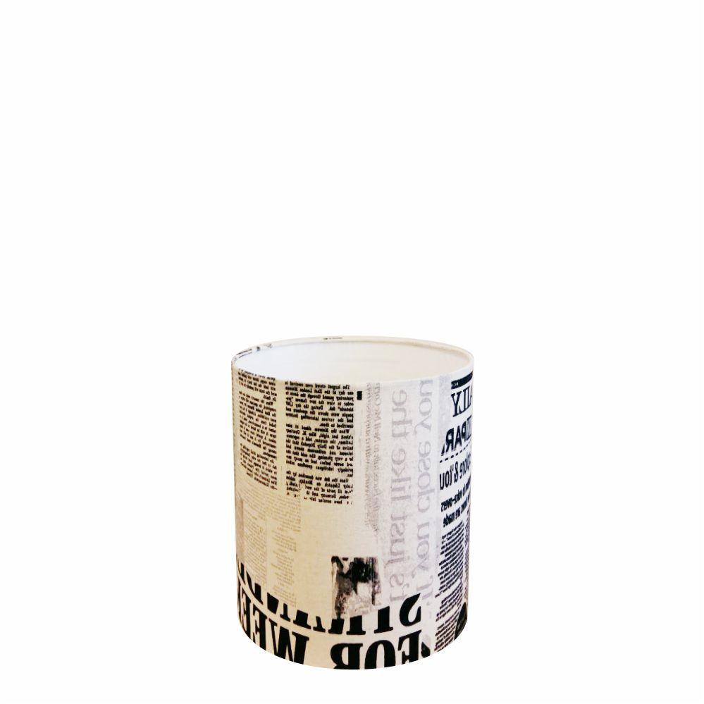 Cúpula em Tecido Cilindrica Abajur Luminária Cp-2009 13x15cm Ny-Jornal