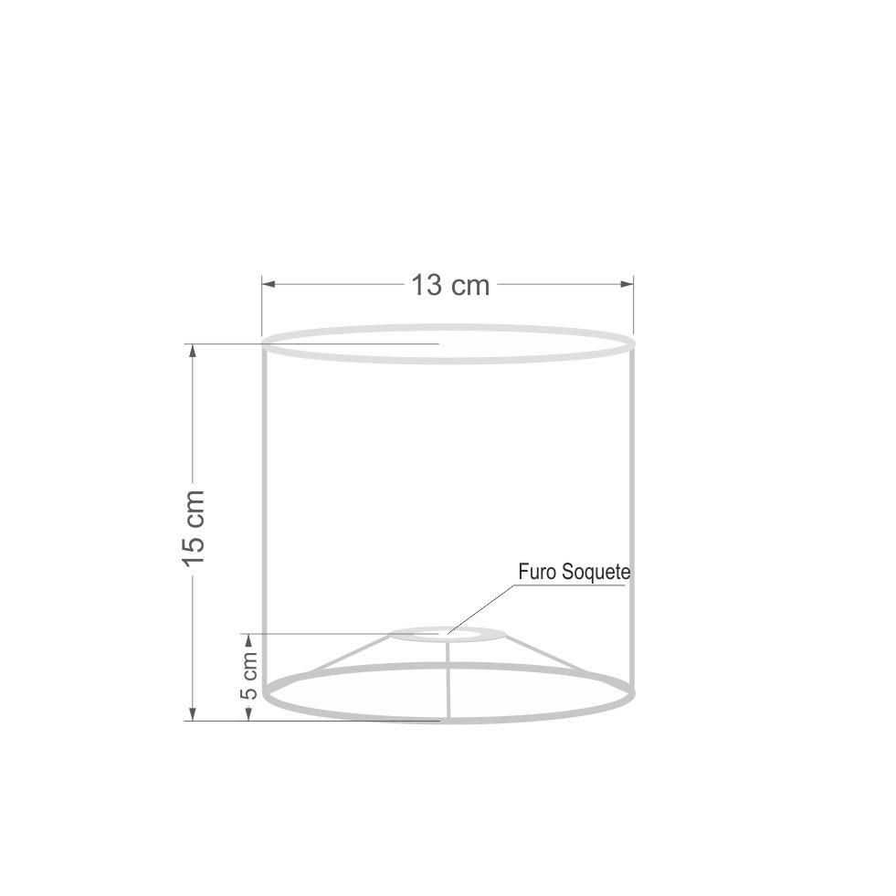 Cúpula em Tecido Cilindrica Abajur Luminária Cp-2009 13x15cm Rustico Cinza