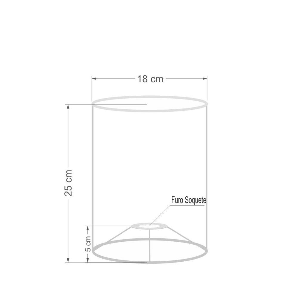Cúpula em Tecido Cilindrica Abajur Luminária Cp-4012 18x25cm Linho Bege