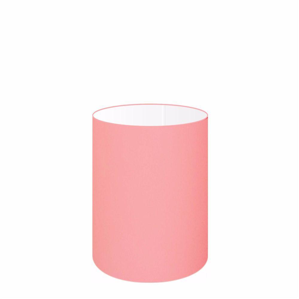Cúpula em Tecido Cilindrica Abajur Luminária Cp-4012 18x25cm Rosa Bebê