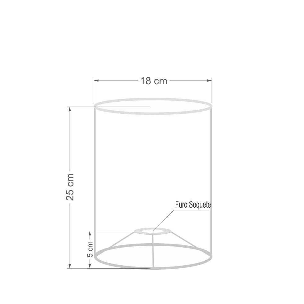 Cúpula em Tecido Cilindrica Abajur Luminária Cp-4012 18x25cm Rustico Cinza