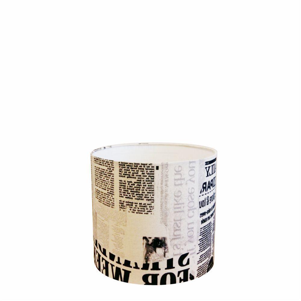 Cúpula em Tecido Cilindrica Abajur Luminária Cp-4046 18x18cm Ny-Jornal