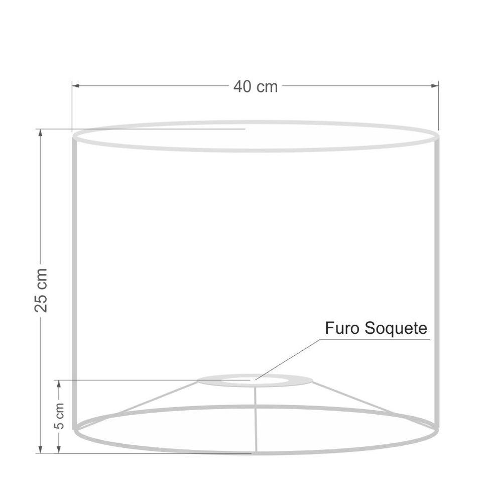 Cúpula em Tecido Cilindrica Abajur Luminária Cp-4099 40x25cm Azul Turquesa