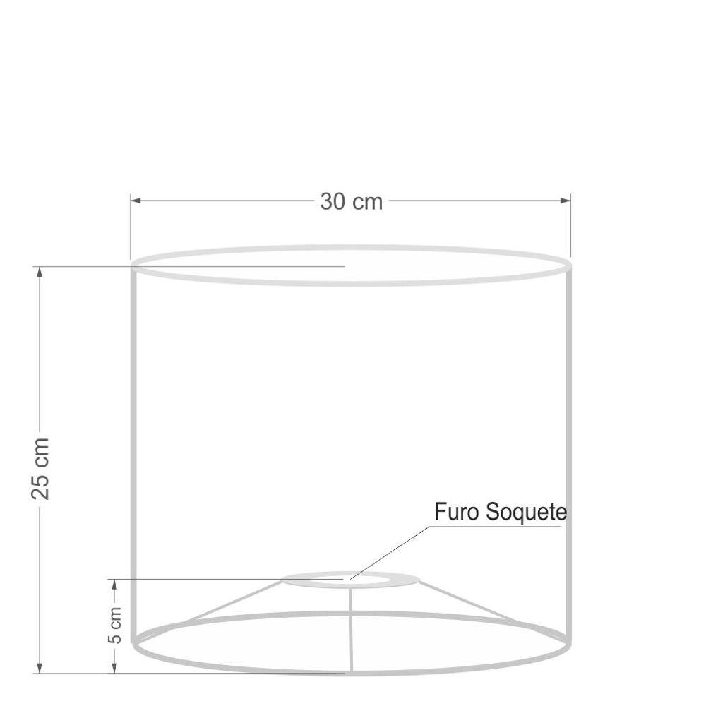 Cúpula em Tecido Cilindrica Abajur Luminária Cp-4113 30x25 Algodão Crú