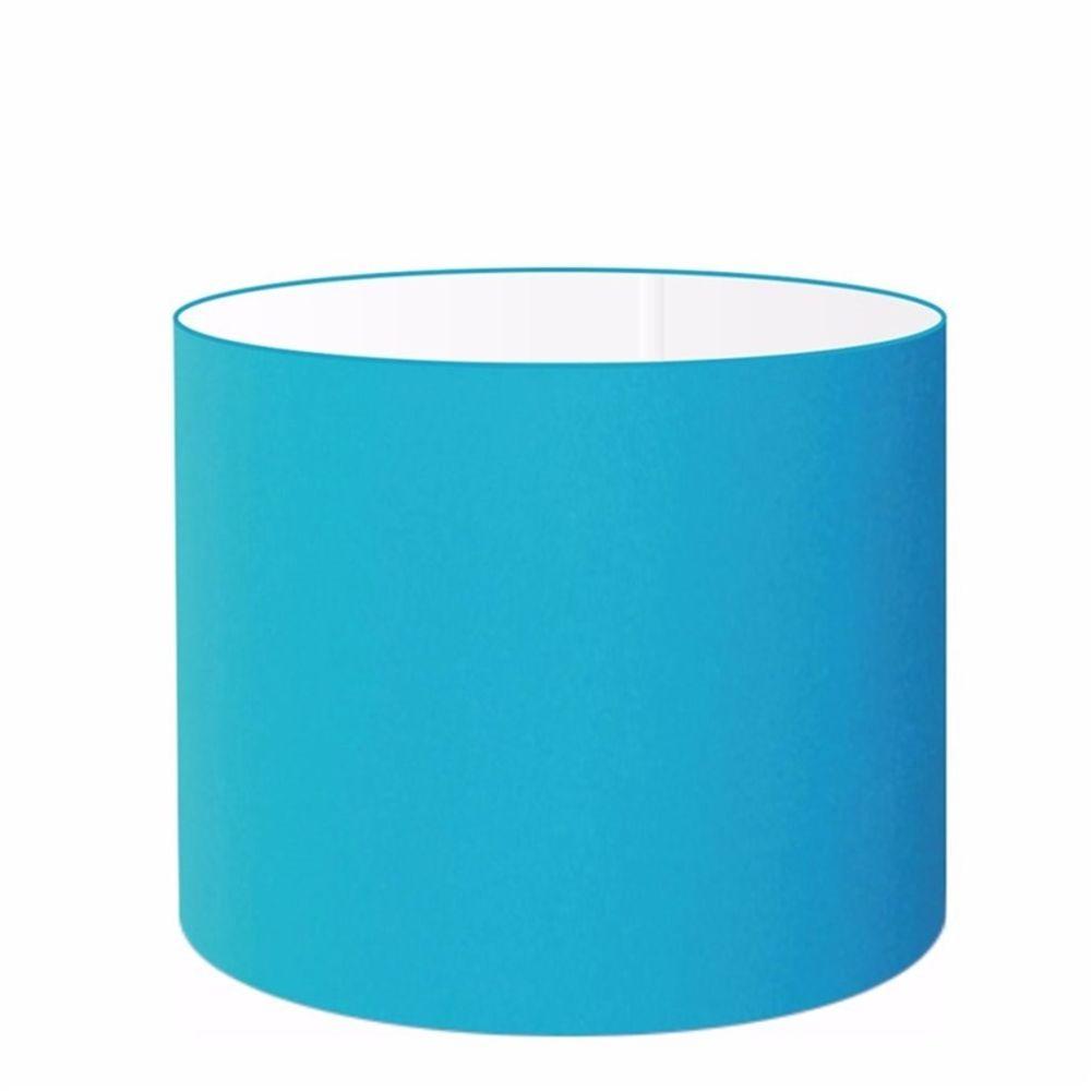 Cúpula em Tecido Cilindrica Abajur Luminária Cp-4146 40x30cm Azul Turquesa
