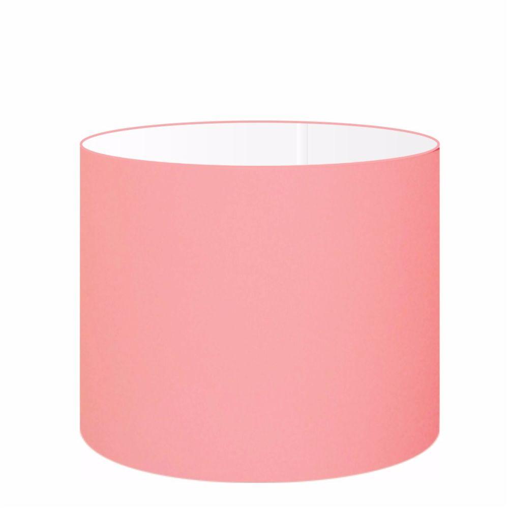 Cúpula em Tecido Cilindrica Abajur Luminária Cp-4146 40x30cm Rosa Bebê