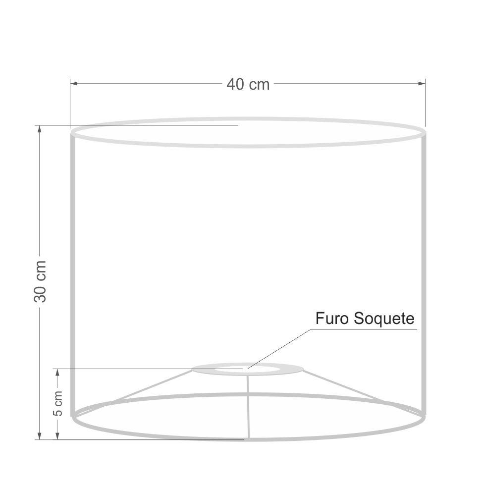 Cúpula em Tecido Cilindrica Abajur Luminária Cp-4146 40x30cm Rustico Cinza