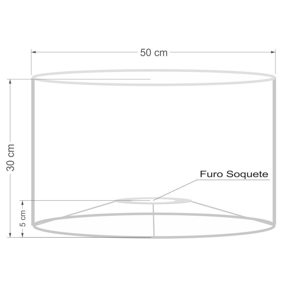Cúpula em Tecido Cilindrica Abajur Luminária Cp-4189 50x30cm Lilás