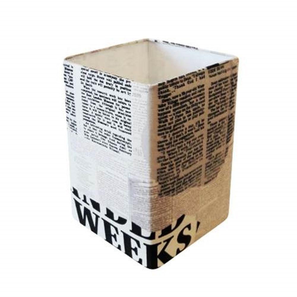 Cúpula em Tecido Quadrada Abajur Luminária Cp-4007 25/16x16cm Ny-Jornal