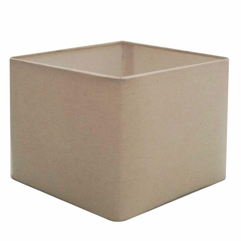Cúpula em Tecido Quadrada Abajur Luminária Cp-4077 30/50x50cm Algodão Crú