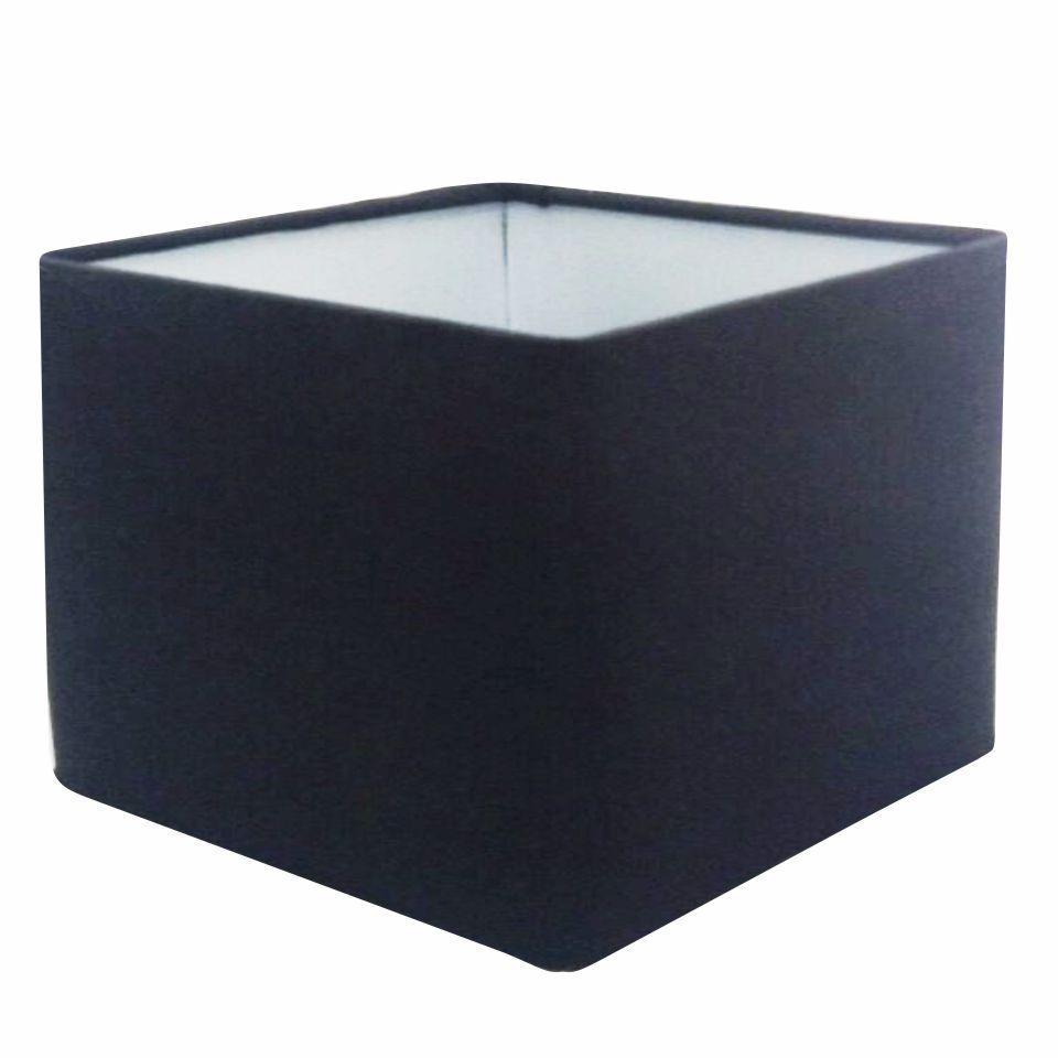 Cúpula em Tecido Quadrada Abajur Luminária Cp-4077 30/50x50cm Preto